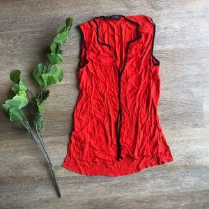 Zara Woman Red Sleeveless Semi Sheer Top Size S
